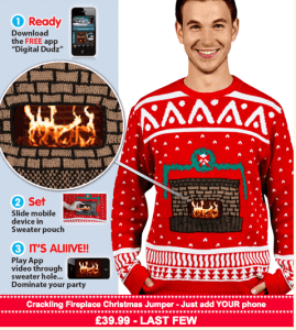 Finding Gaps in a Market- Cheesy Christmas Jumpers - image - man wearing christmas jumper with fireplace design