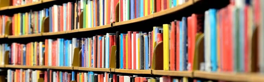 Inspirational books on a bookshelf in a library