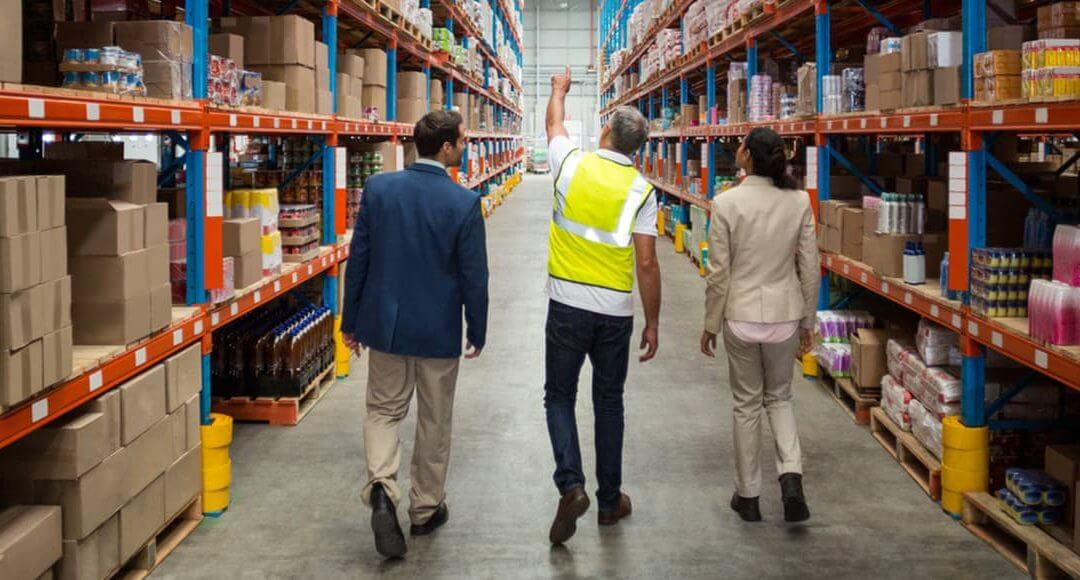 Start up business guided tour of a suppliers warehouse