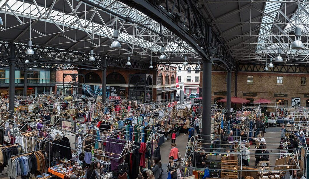Aerial view of small business owners inside Spitalfields market, London