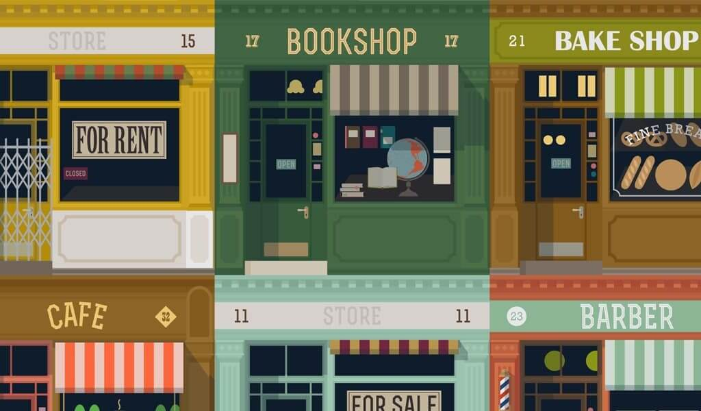 Supporting Small Business Saturday - illustrations of multicolored shop fronts image